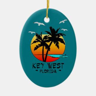 KEY WEST FLORIDA TROPICAL DESTINATION CERAMIC OVAL ORNAMENT