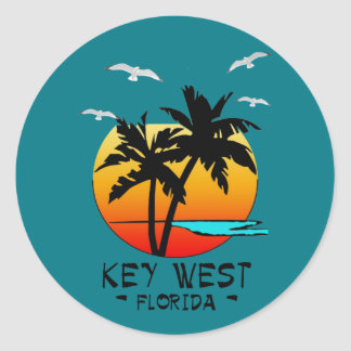 KEY WEST FLORIDA TROPICAL DESTINATION CLASSIC ROUND STICKER