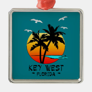 KEY WEST FLORIDA TROPICAL DESTINATION Silver-Colored SQUARE ORNAMENT