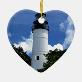Key West Lighthouse Ceramic Heart Ornament