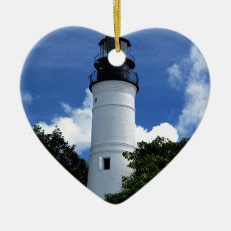 Key West Lighthouse Ceramic Heart Ornament