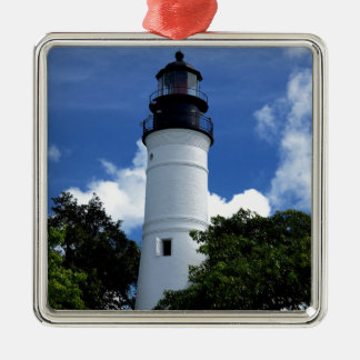Key West Lighthouse Silver-Colored Square Ornament
