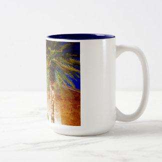Key West Palm Trees Two-Tone Coffee Mug