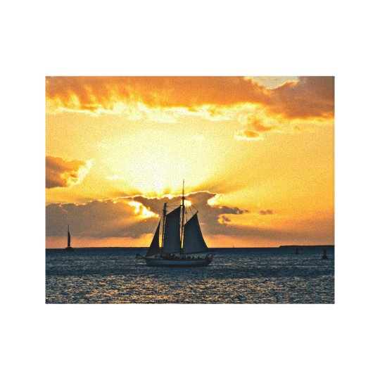 Key West Sailboat Sunset Photo Canvas