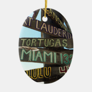 Key West Signs Ceramic Oval Ornament