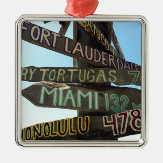 Key West Signs Silver-Colored Square Ornament