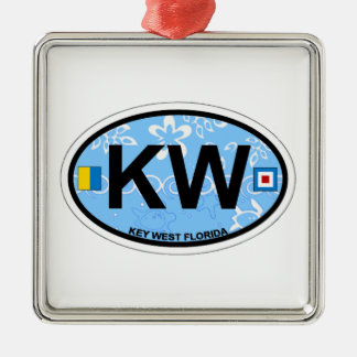 Key West. Silver-Colored Square Ornament