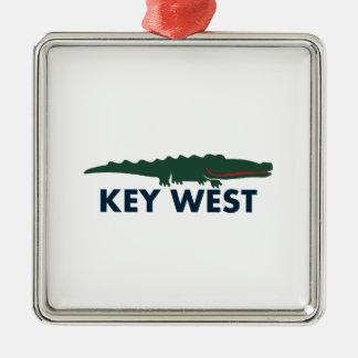 Key West. Silver-Colored Square Ornament