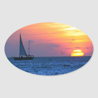Key West Sunset Oval Sticker