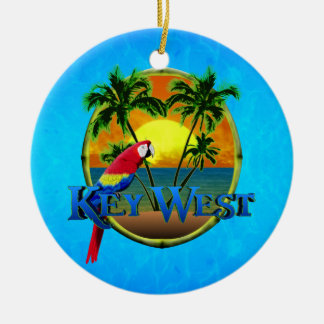 Key West Sunset Round Ceramic Ornament