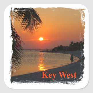 Key West Sunset Square Sticker