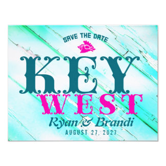 KEY WEST Wood Save The Date Card