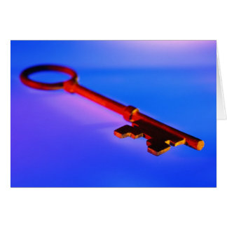 KEY WITH BLUE BACKGROUND CARD