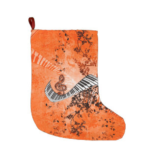 Keyboard and clef large christmas stocking