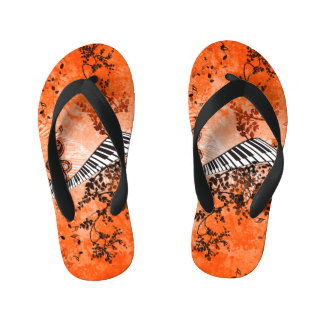 Keyboard and clef with roses kid's flip flops