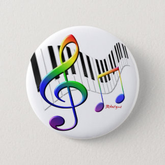 Keyboard and Treble Clef 2 Inch Round Button