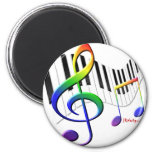 Keyboard and Treble Clef 2 Inch Round Magnet