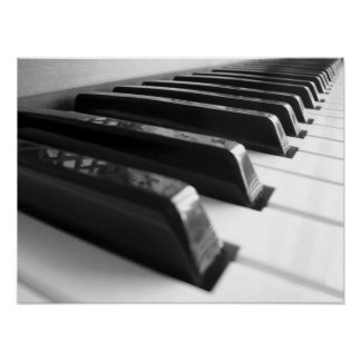 Keyboard - Black and White Poster