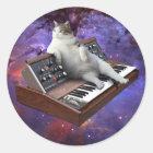 keyboard cat - cat memes - crazy cat classic round sticker