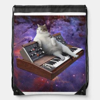 keyboard cat - cat memes - crazy cat drawstring bag