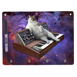 keyboard cat - cat memes - crazy cat dry erase board with keychain holder
