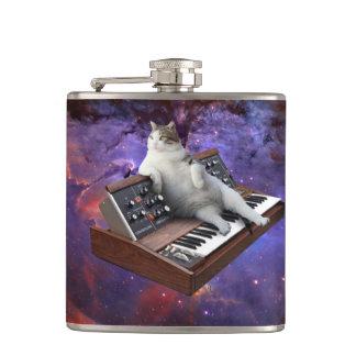keyboard cat - cat memes - crazy cat hip flask
