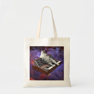 keyboard cat - cat memes - crazy cat tote bag