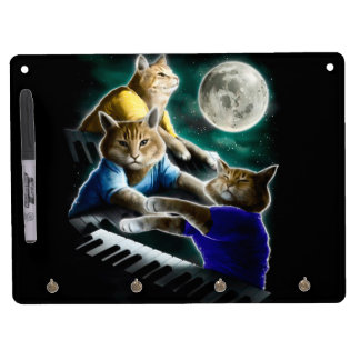 keyboard cat - cat music - cat memes dry erase board with keychain holder