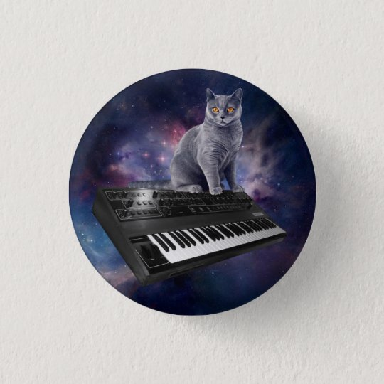keyboard cat - cat music - space cat 1 inch round button