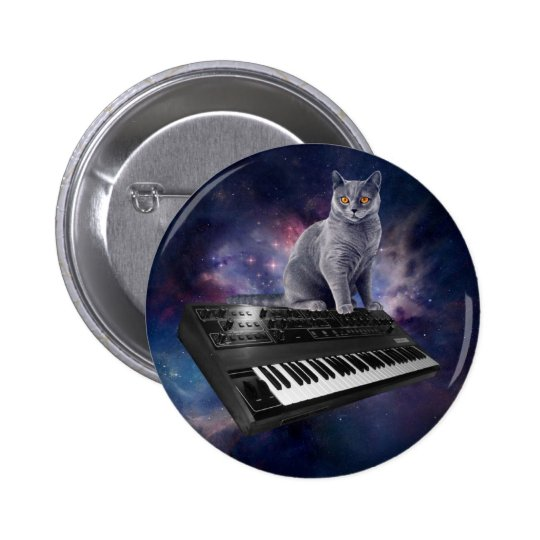 keyboard cat - cat music - space cat 2 inch round button
