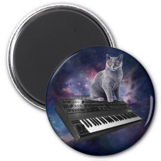 keyboard cat - cat music - space cat 2 inch round magnet