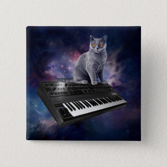 keyboard cat - cat music - space cat 2 inch square button