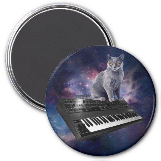 keyboard cat - cat music - space cat 3 inch round magnet