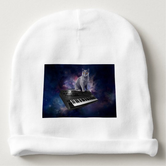 keyboard cat - cat music - space cat baby beanie