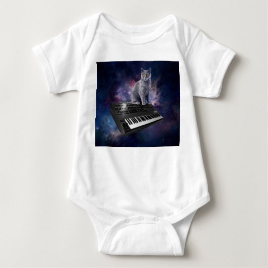 keyboard cat - cat music - space cat baby bodysuit