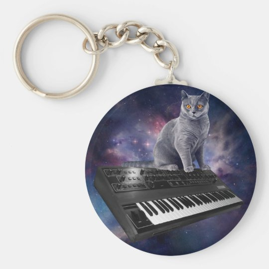keyboard cat - cat music - space cat basic round button keychain