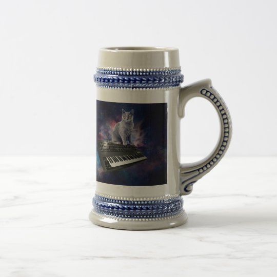 keyboard cat - cat music - space cat beer stein