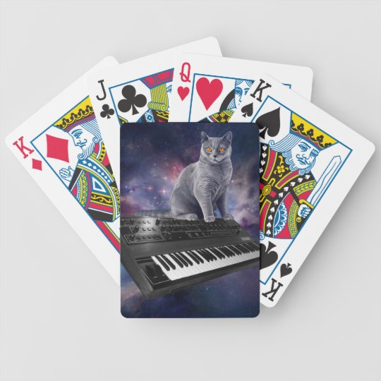 keyboard cat - cat music - space cat bicycle playing cards