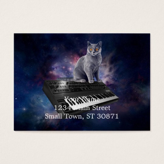 keyboard cat - cat music - space cat business card