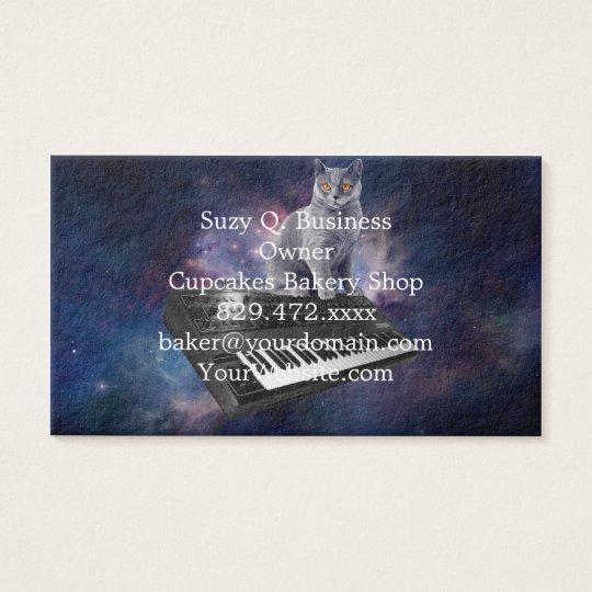 keyboard cat - cat music - space cat business card