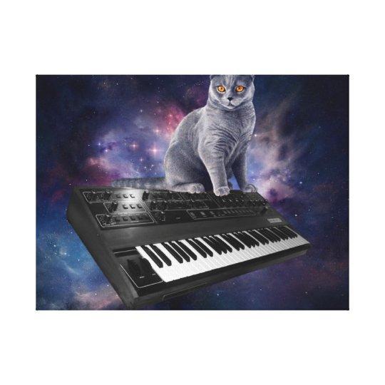 keyboard cat - cat music - space cat canvas print