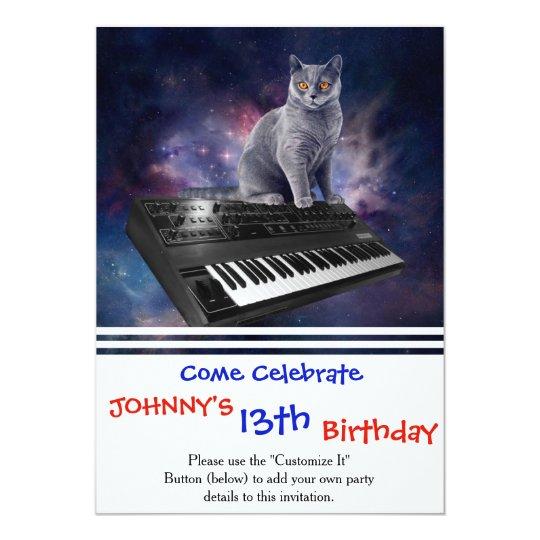 keyboard cat - cat music - space cat card