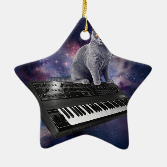 keyboard cat - cat music - space cat ceramic star ornament