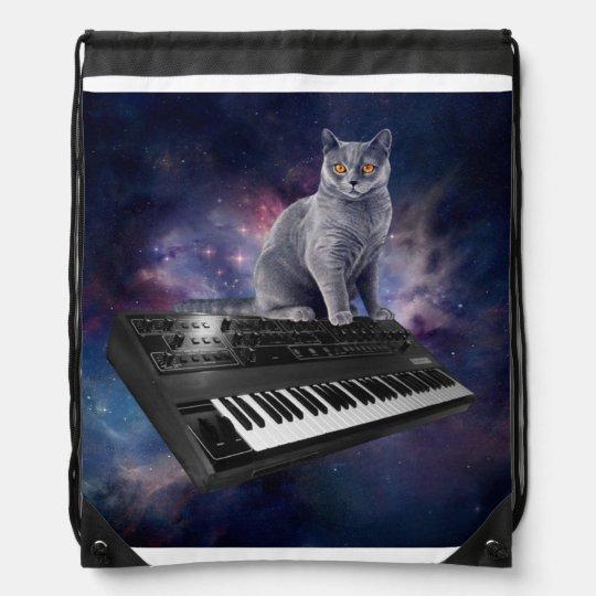 keyboard cat - cat music - space cat cinch bag