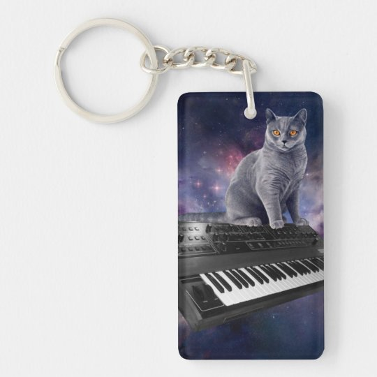 keyboard cat - cat music - space cat Double-Sided rectangular acrylic keychain