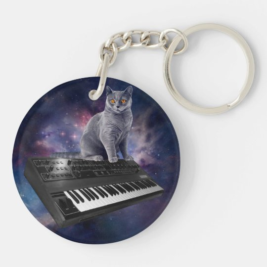 keyboard cat - cat music - space cat Double-Sided round acrylic keychain