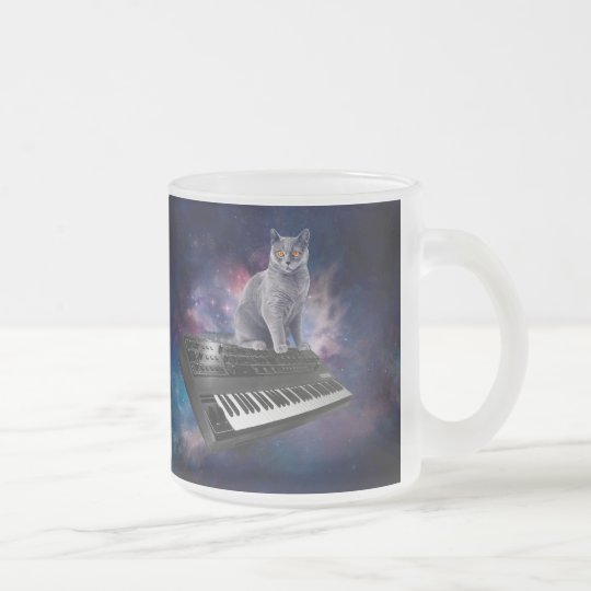 keyboard cat - cat music - space cat frosted glass coffee mug
