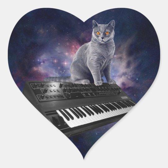 keyboard cat - cat music - space cat heart sticker