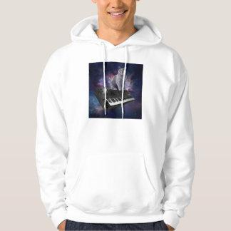 keyboard cat - cat music - space cat hoodie