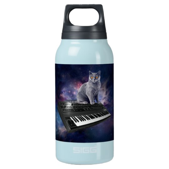 keyboard cat - cat music - space cat insulated water bottle